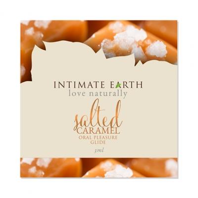 afbeelding intimate earth - oral pleasure glide gezouten caramel foil 3 ml