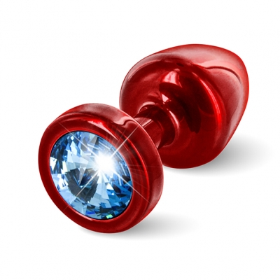 afbeelding diogol - anni butt plug rond rood / blauw 25 mm
