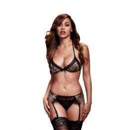 afbeelding baci - leopard / lace bra top / garter / panty one size