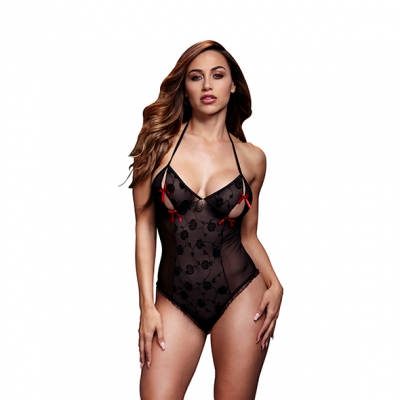 afbeelding baci - zwart lace bodysuit / bra slits red bow one size