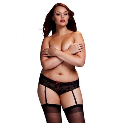afbeelding baci - zwarte roos open kruis boyshort panty queen size