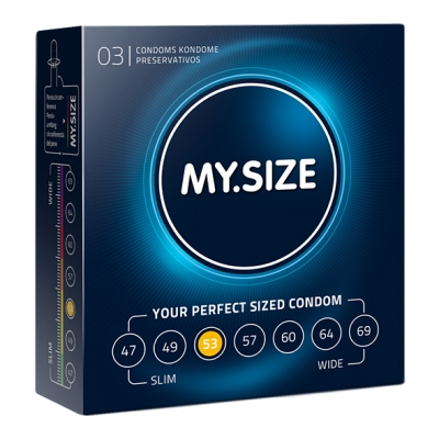 afbeelding my size - natural latex condom 53 width 3 st.