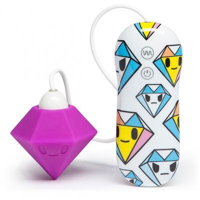 afbeelding tokidoki - silicone paars diamant clitorale vibrator