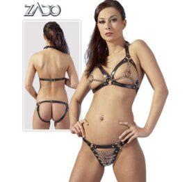 afbeelding leren bikini met kettingen