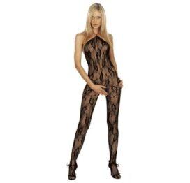 afbeelding catsuit halter open back rose - zwart