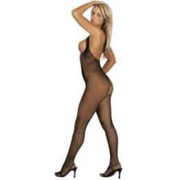 afbeelding catsuit open bust + crotch - visnet zwart