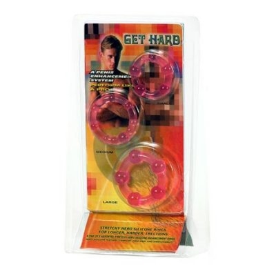 afbeelding drie jelly penisringen - roze