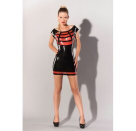 afbeelding Latex jurkje zwart met rood