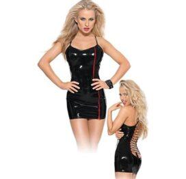 afbeelding PVC mini jurk met rode rits