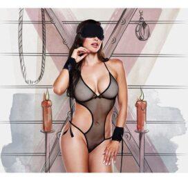 afbeelding Monokini met oogmasker en handboeien (zwart)