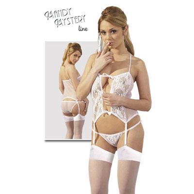 afbeelding jarretelle hemd met slip en kousen - wit