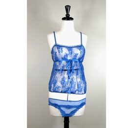 afbeelding lace camisole and thong set - blauw - maat: m/l