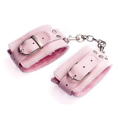 afbeelding lederen handboeien - roze
