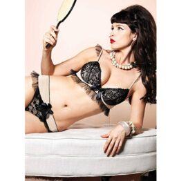 afbeelding leg avenue europe bra top and matching thong nude/black set - l