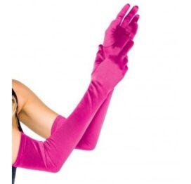 afbeelding leg avenue europe extra long satin gloves fuchsia