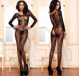 afbeelding leg avenue europe swirl lace bodystocking - zwart