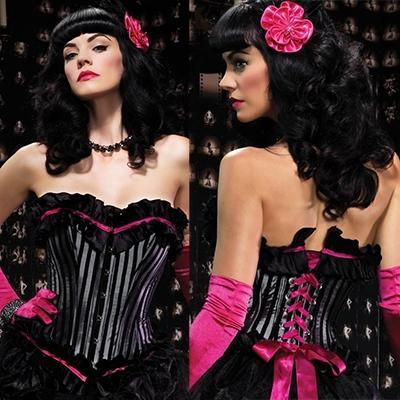 afbeelding leg avenue europe veronica corset black/grey - l