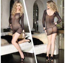 afbeelding long sleeved mini dress - zwart