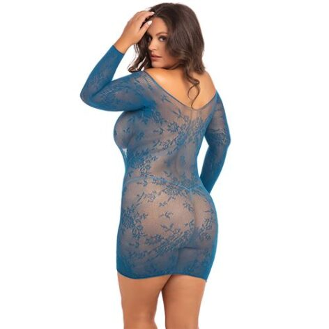afbeelding Kanten Offshoulder jurkje René Rofé blauw
