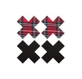 afbeelding Peekabo 2 paar tepelstickers zwart en schotse ruit X