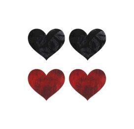 afbeelding Peekaboo 2 paar tepelstickers hart rood en zwart