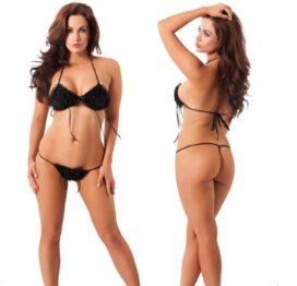 afbeelding roos bikini zwart