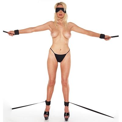 afbeelding rimba - softbondage klitteband hand- en voetboeien met banden en masker (5 delig)