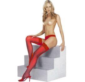 afbeelding rode kousen met kanten rand
