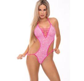 afbeelding Bandjesbody met V-hals roze